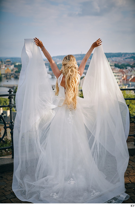 Angelic Bride & her Veil overlooking Prague