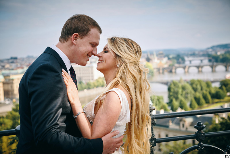 A&S wedding photo overlooking Prague