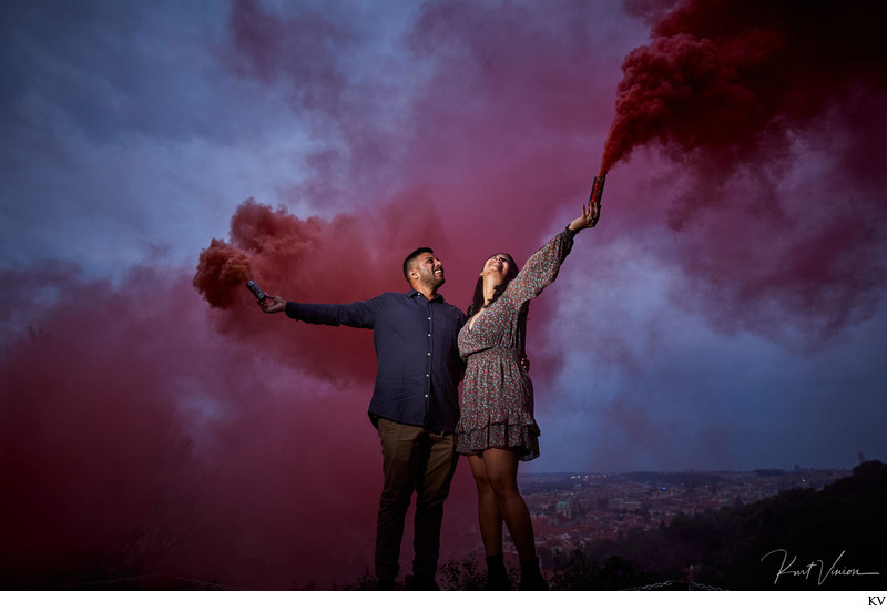 Hiten & Rochel holding up the flares above Prague