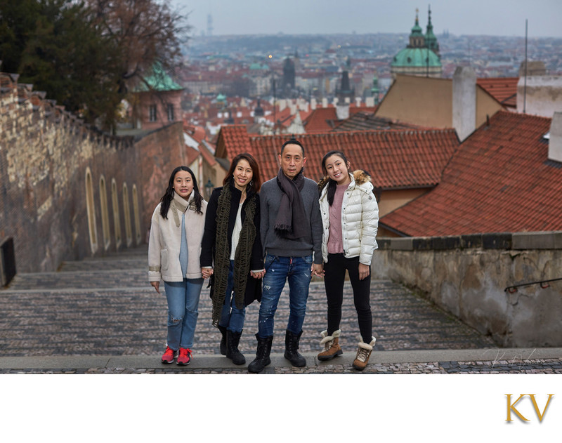 family photo overlooking Prague