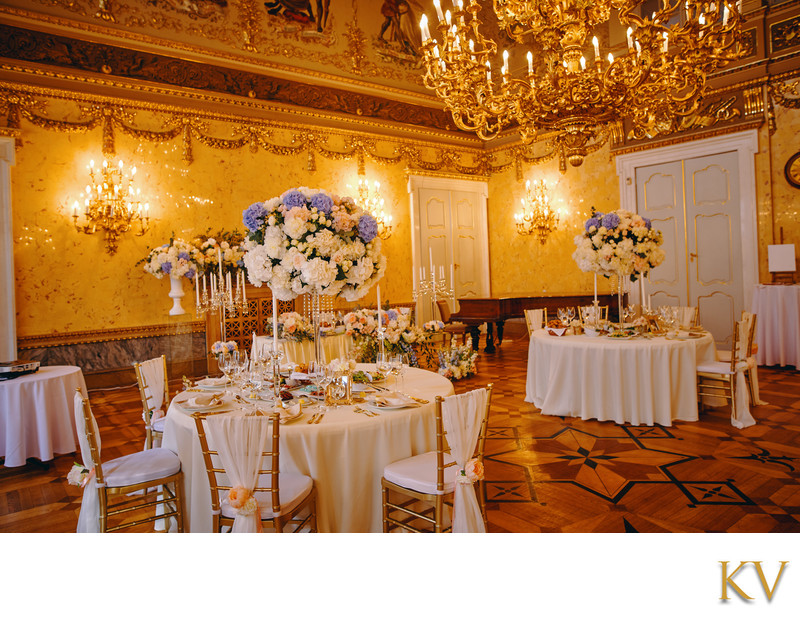 Kaunicky Palace wedding day dinner venue interior