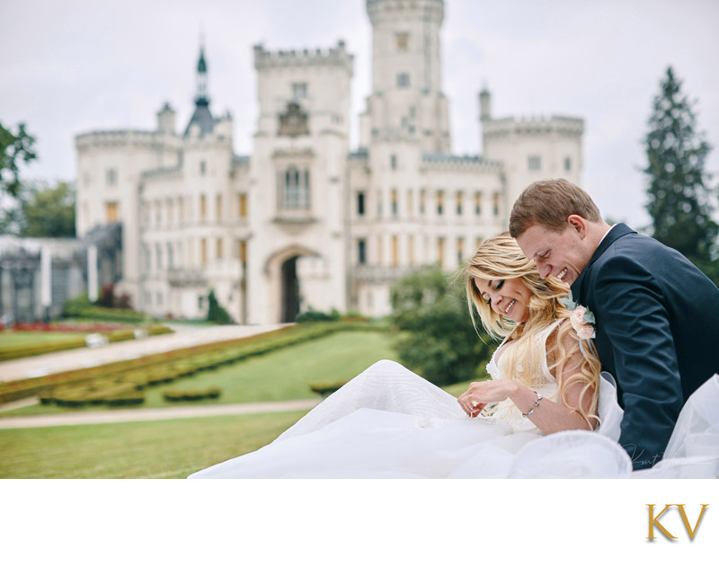 The bride & groom Castle Hluboka destination weddings