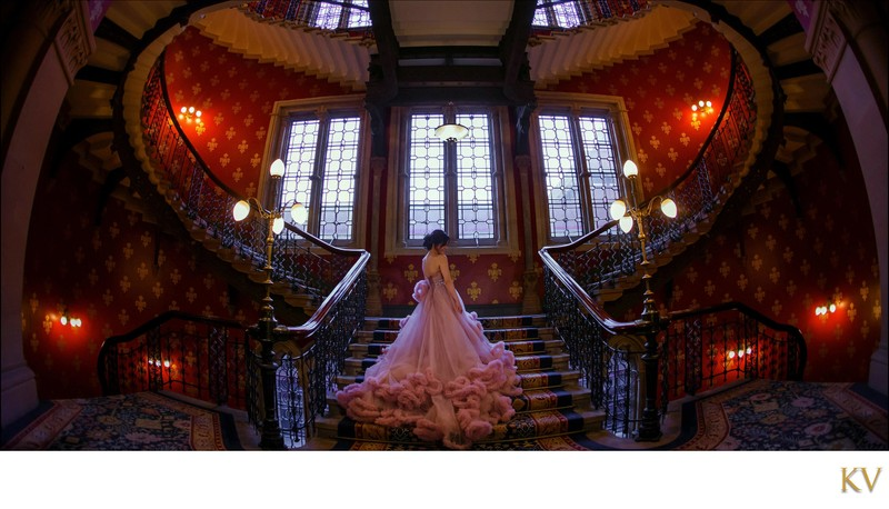 St. Pancras Renaissance Hotel London bride in pink