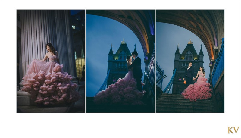 Night portraits pre weddings London Tower Bridge