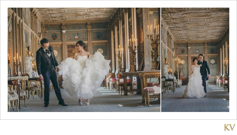 bride showing  off to groom Syon House London weddings
