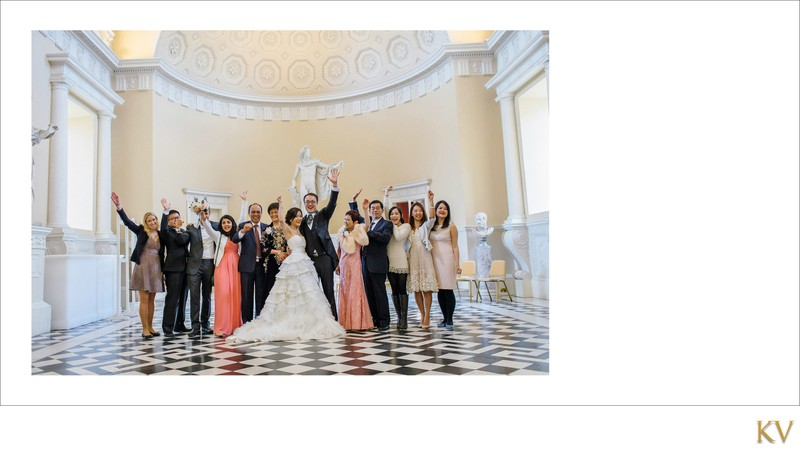 Happy bride & groom with family & friends Syon House