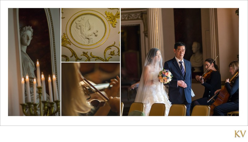 bride escorted by father Syon House London weddings