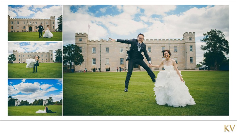 Jump for joy bride & groom Syon House London