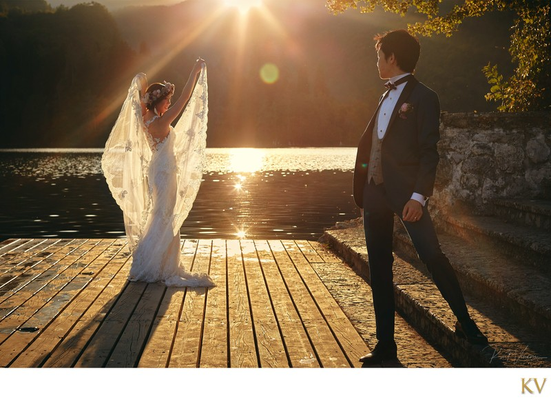 Bride posing like an Angel Lake Bled weddings