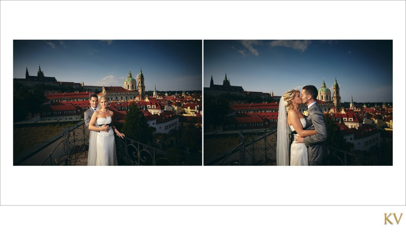 Sexy bride & groom above Vrtba overlooking Prague