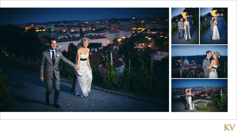 bride & groom stroll through vineyards overlooking Prague