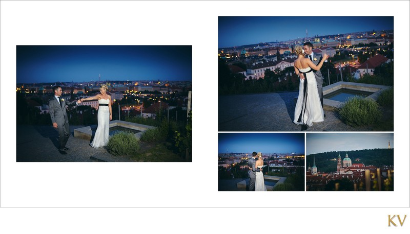 Groom serenades his bride above Prague at Villa Richter