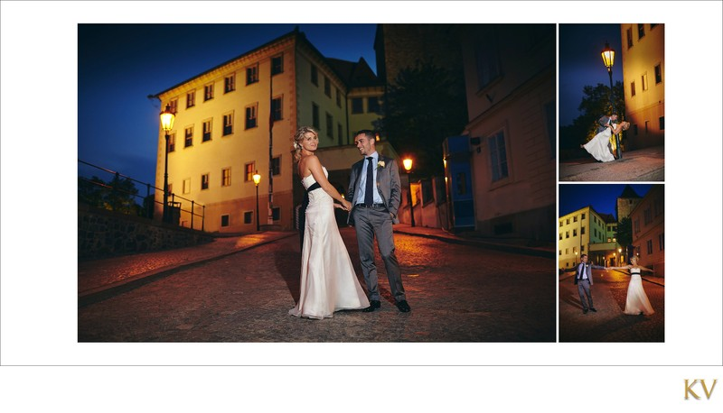Sexy night portraits of bride & groom at Prague Castle