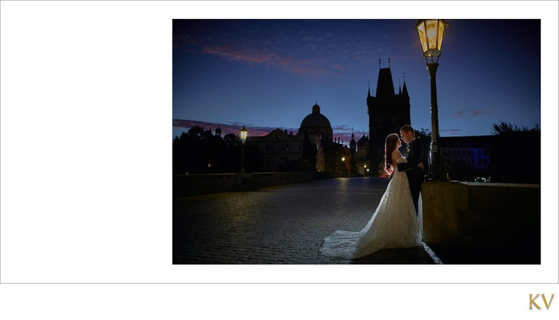 bride & groom under the gas lamps Charles Bridge