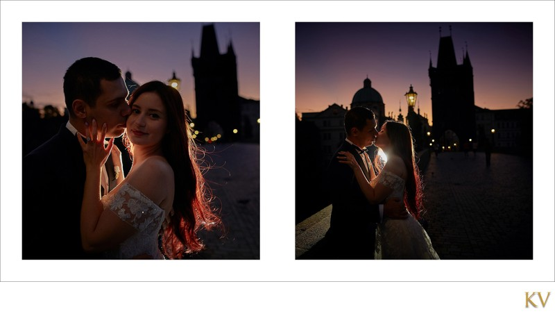 Turkish bride & groom Charles Bridge at sunrise