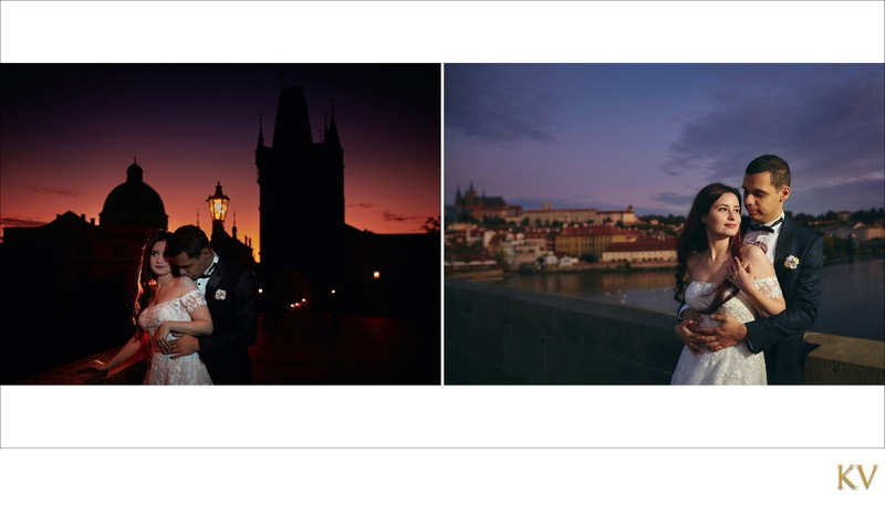 Turkish bride & groom watching sunrise Charles Bridge