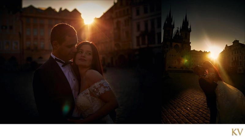 Turkish bride & groom Prague Old Town Square sunrise