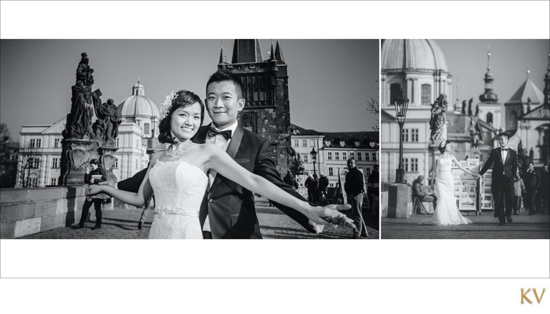 Suki & Stephen wedding portraits on Charles Bridge B&W