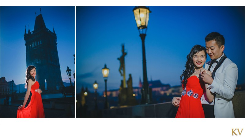 Night time portraits of S&S at Charles Bridge
