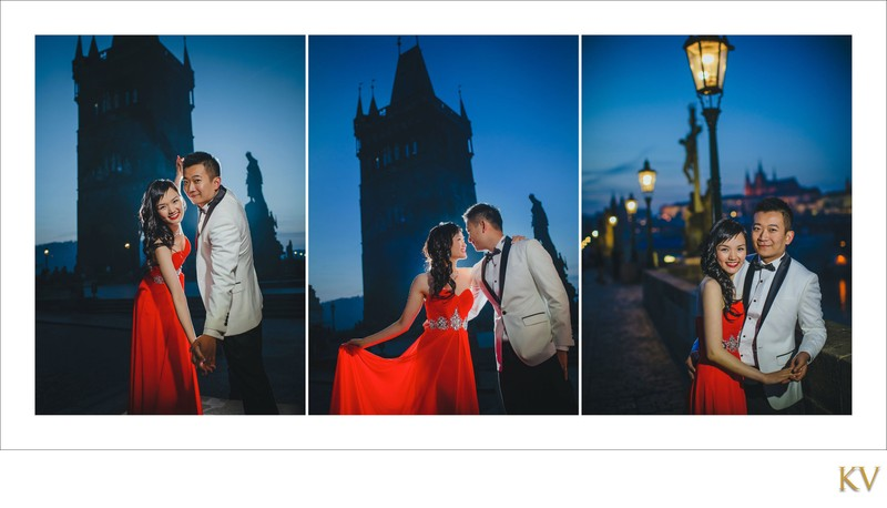 Suki & Stephen night portrait at Charles Bridge