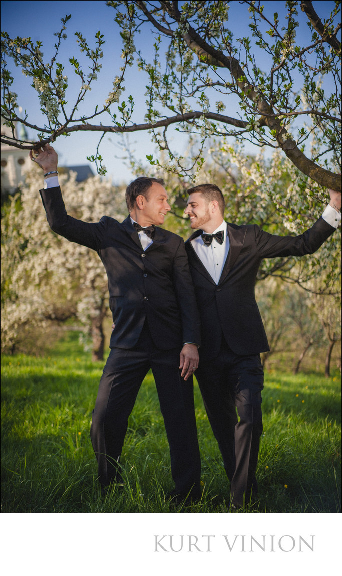 Two sexy guys dressed in tuxedos Prague engagement