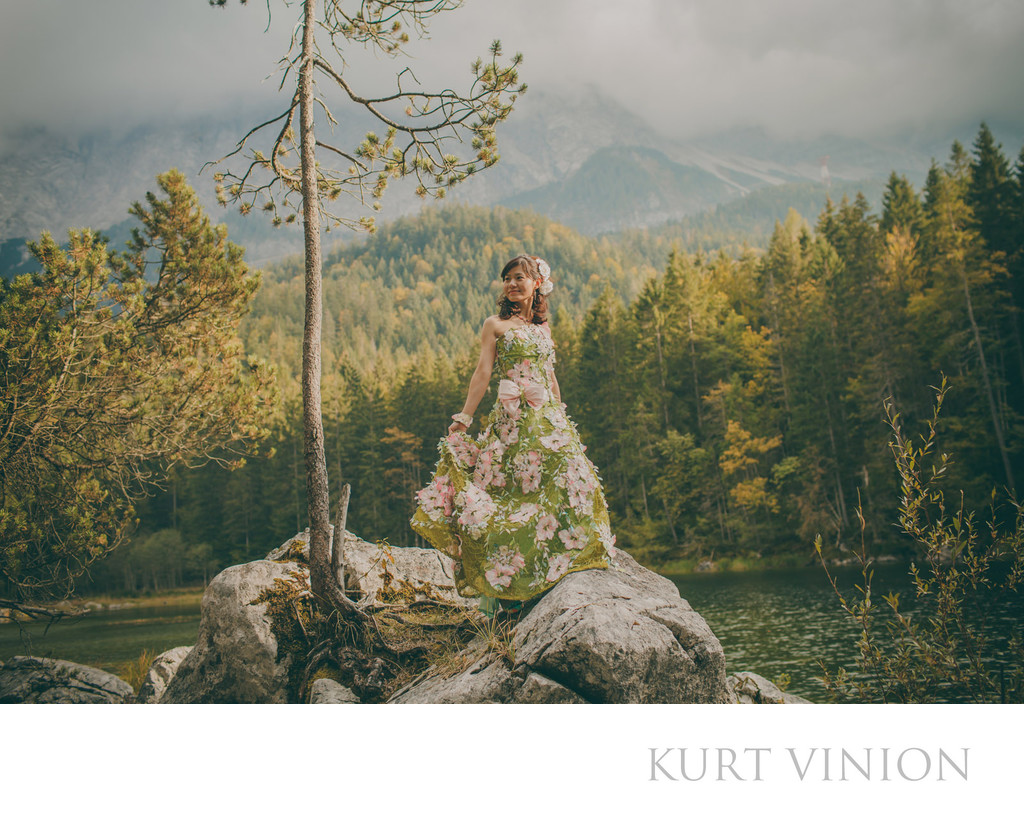 German Alps pre wedding bride designer dress