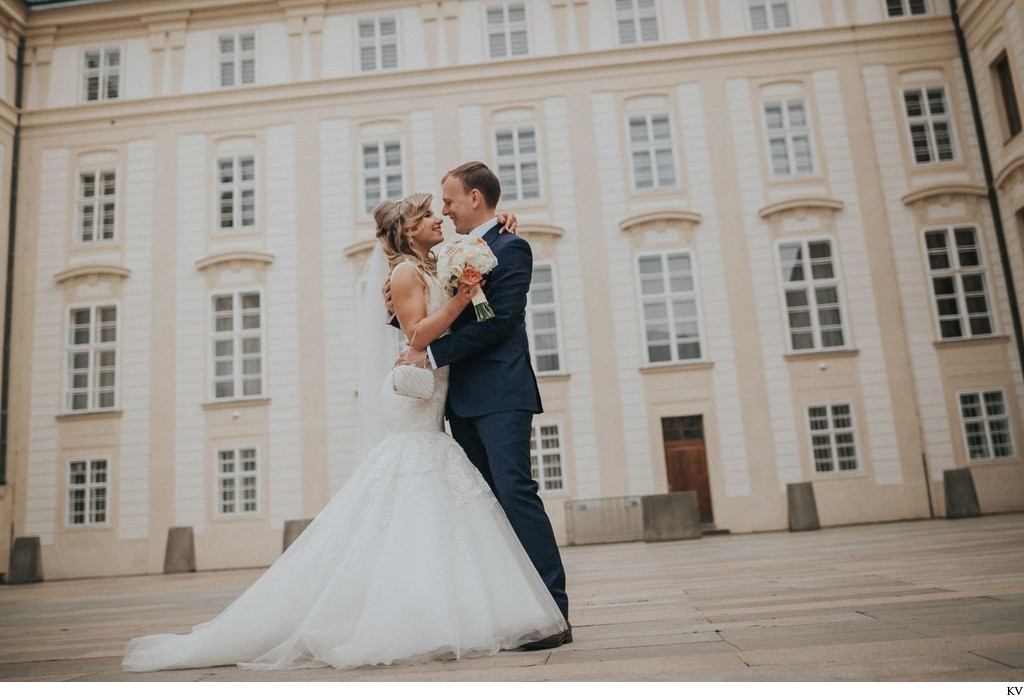 Gorgeous bride & groom at Prague Castle
