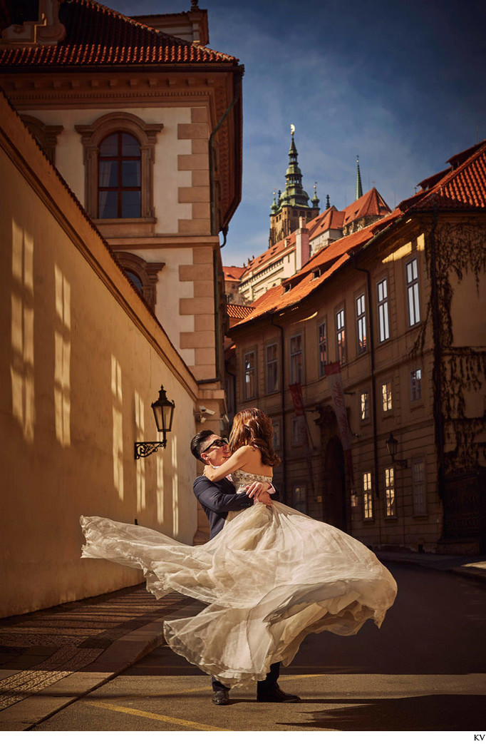 Spinning the bride-to-be under Prague Castle photo