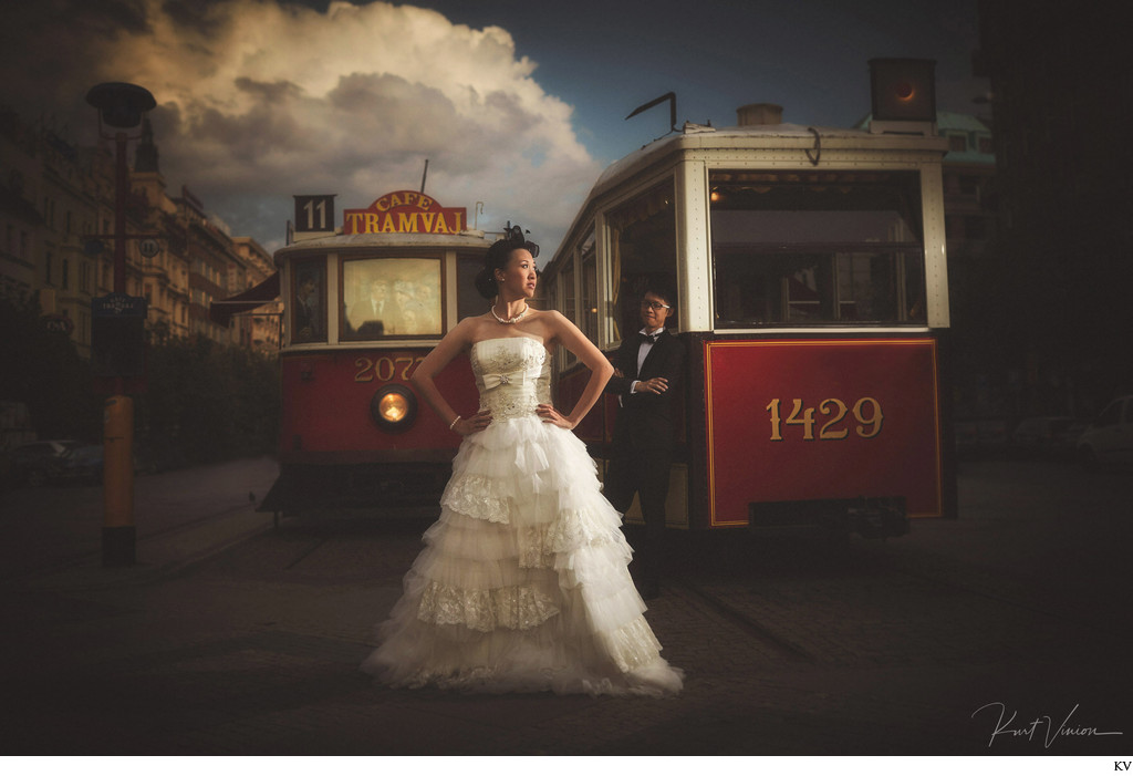 fine art pre weddings: Vintage Tram Couple Portrait