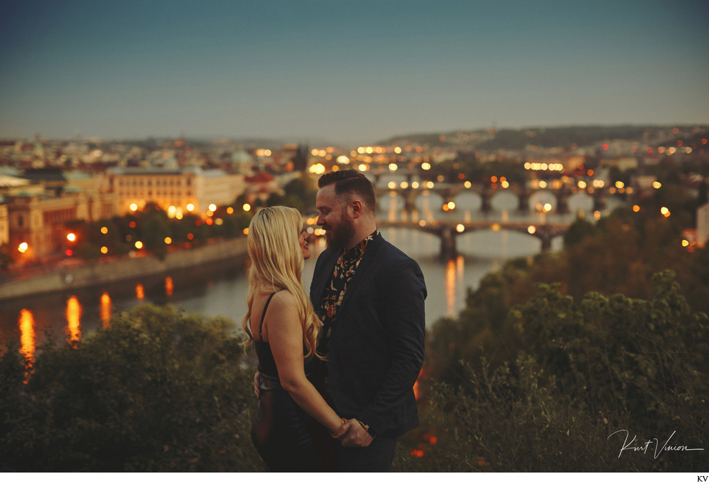 A sexy engagement portrait session in Prague with O+A