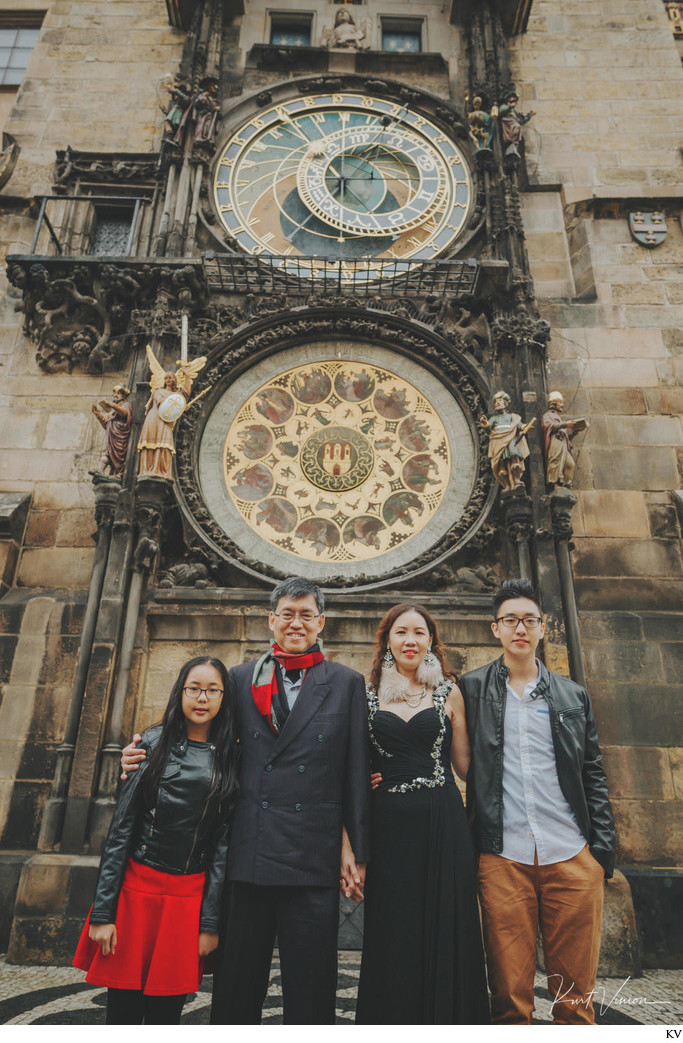 Family photo under the Astronomical Clock