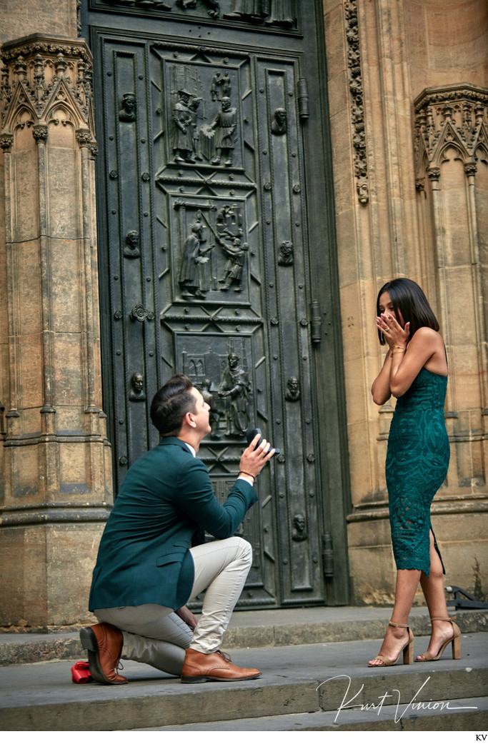 C&D marriage proposal Prague Castle St. Vitus Cathedral