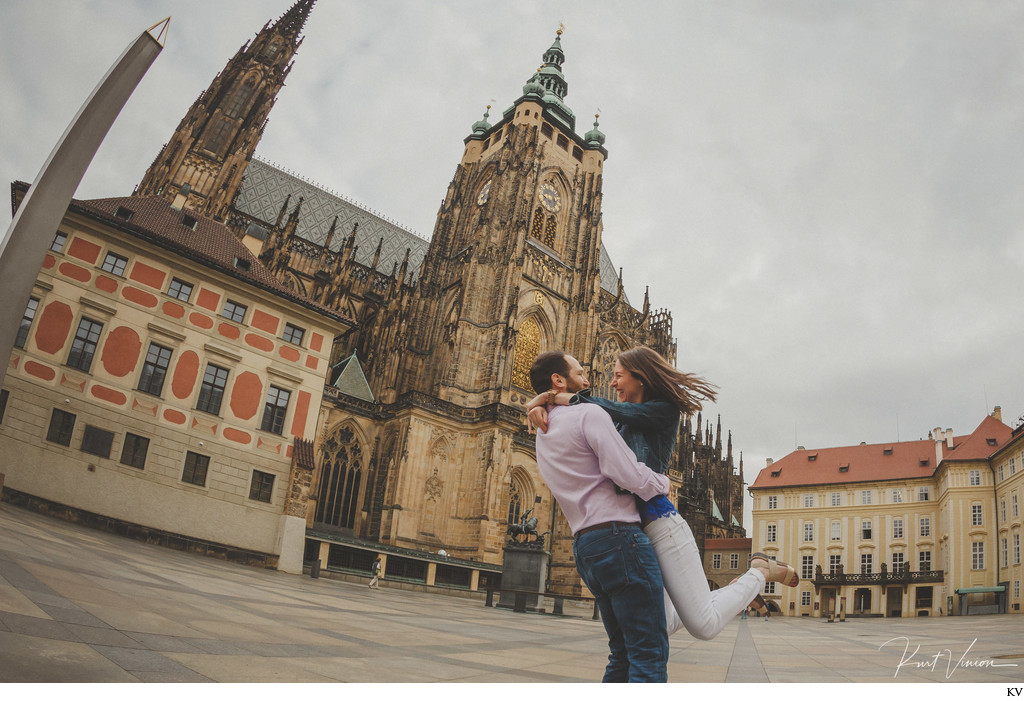 spinning her at Prague Castle Prague Love Story Photos