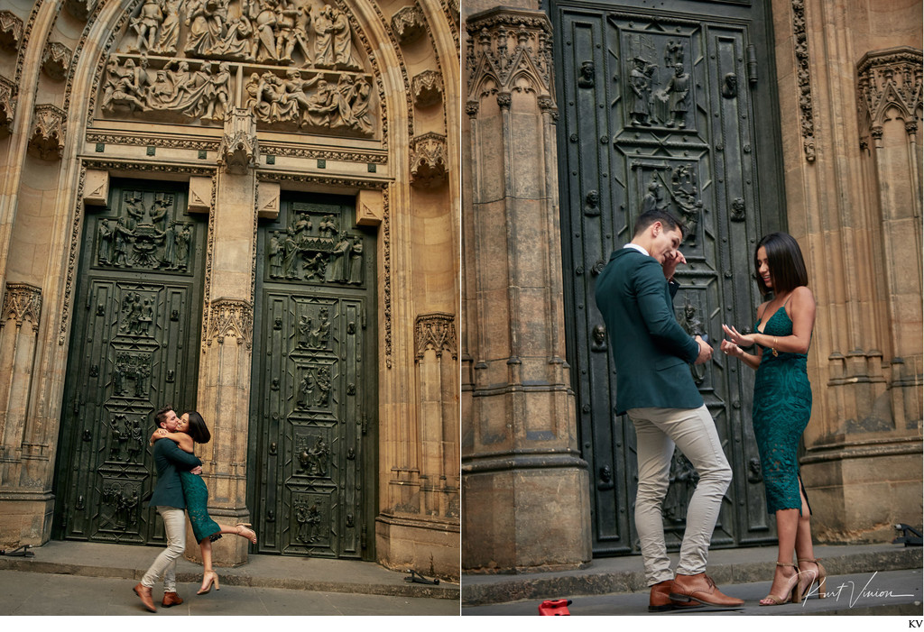 Prague marriage proposal: a ring and a twirl