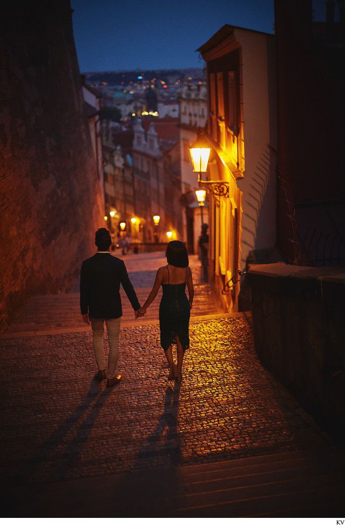 Prague marriage proposal: hand in hand