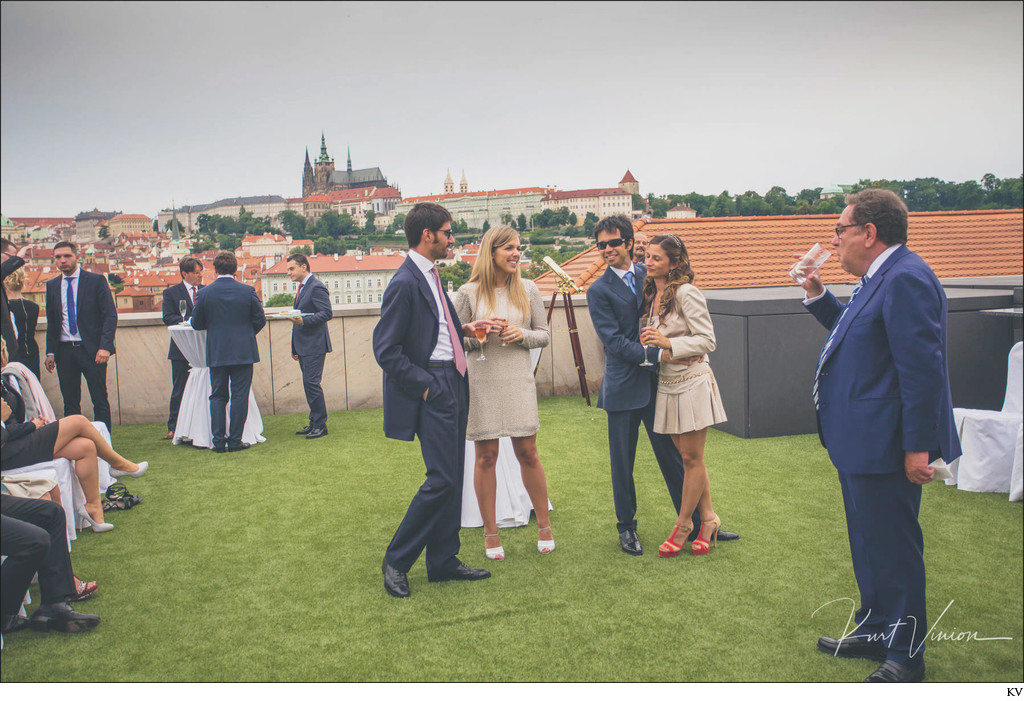 Four Seasons Hotel Prague Wedding guests terrace