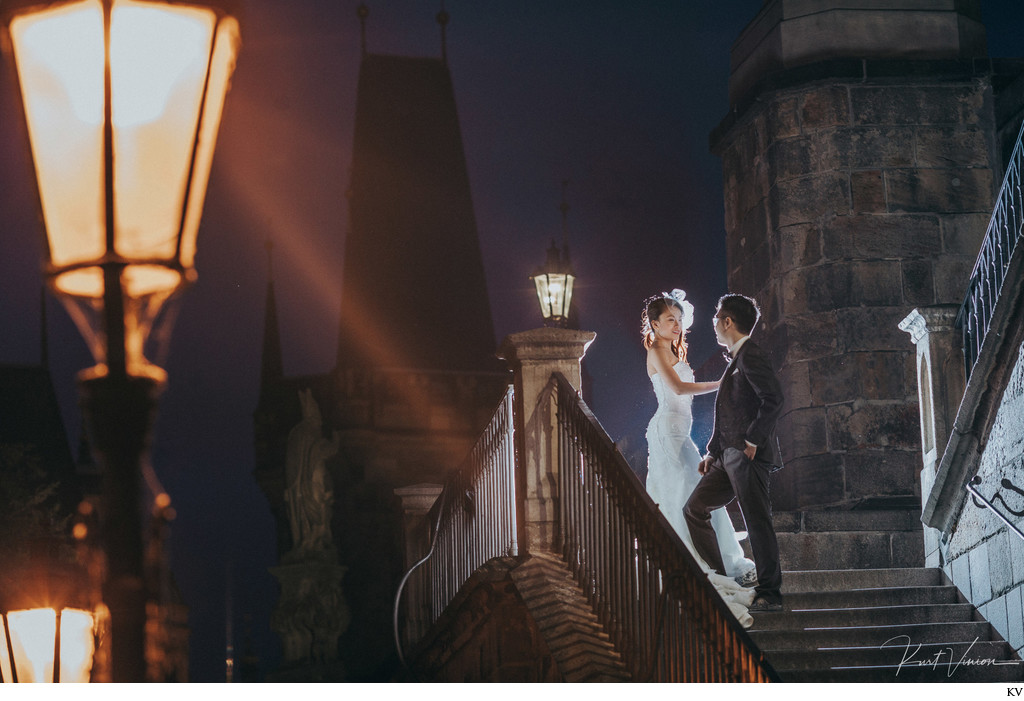 Sexy NYC couple Charles Bridge Prague pre wedding photo