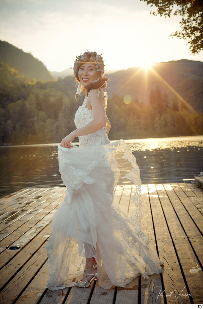 Lake Bled happy bride Golden Light wedding photography