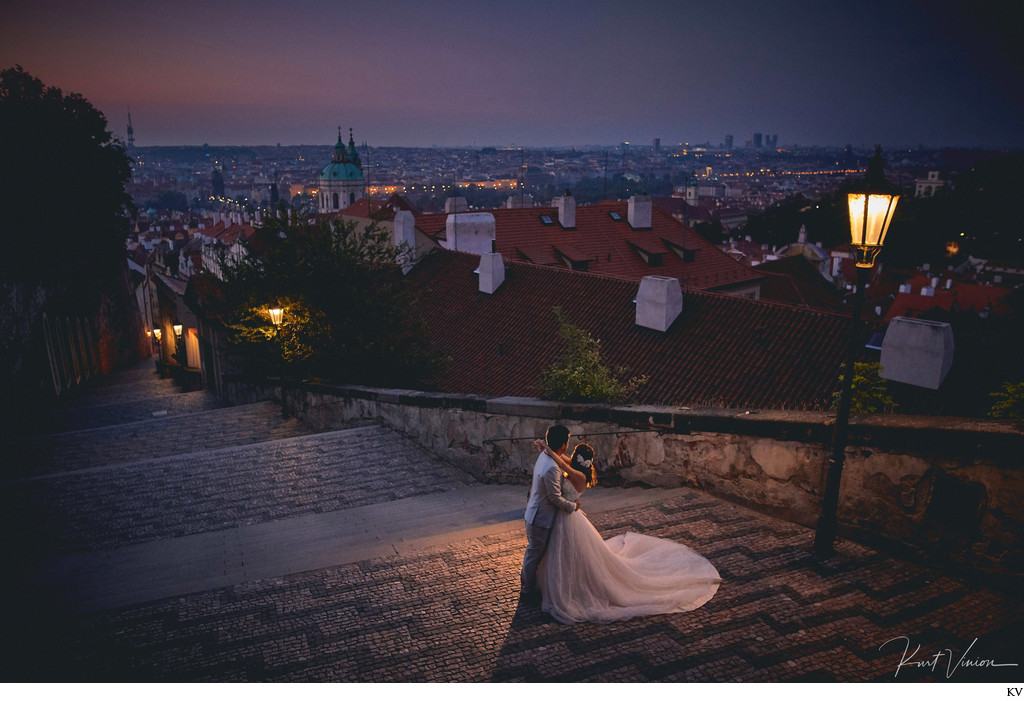 overlooking Prague at night