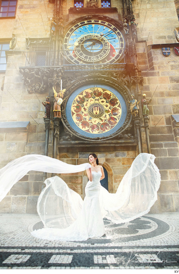 Bad Ass pre wedding photos Astronomical Clock Prague