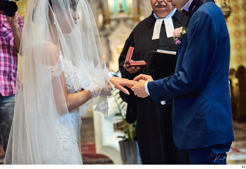 Exchanging of rings St. Martin's Church Bled Slovenia