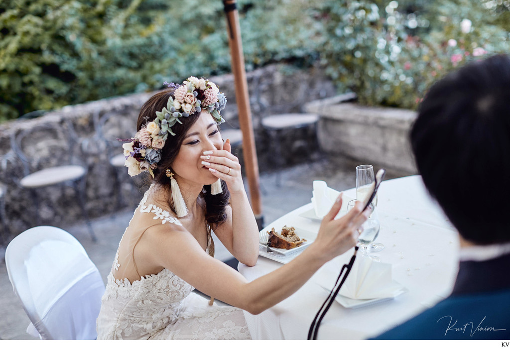 Laughing bride enjoying her selfie
