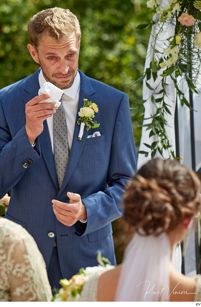 groom tears up at sight of his bride - Slovakia wedding