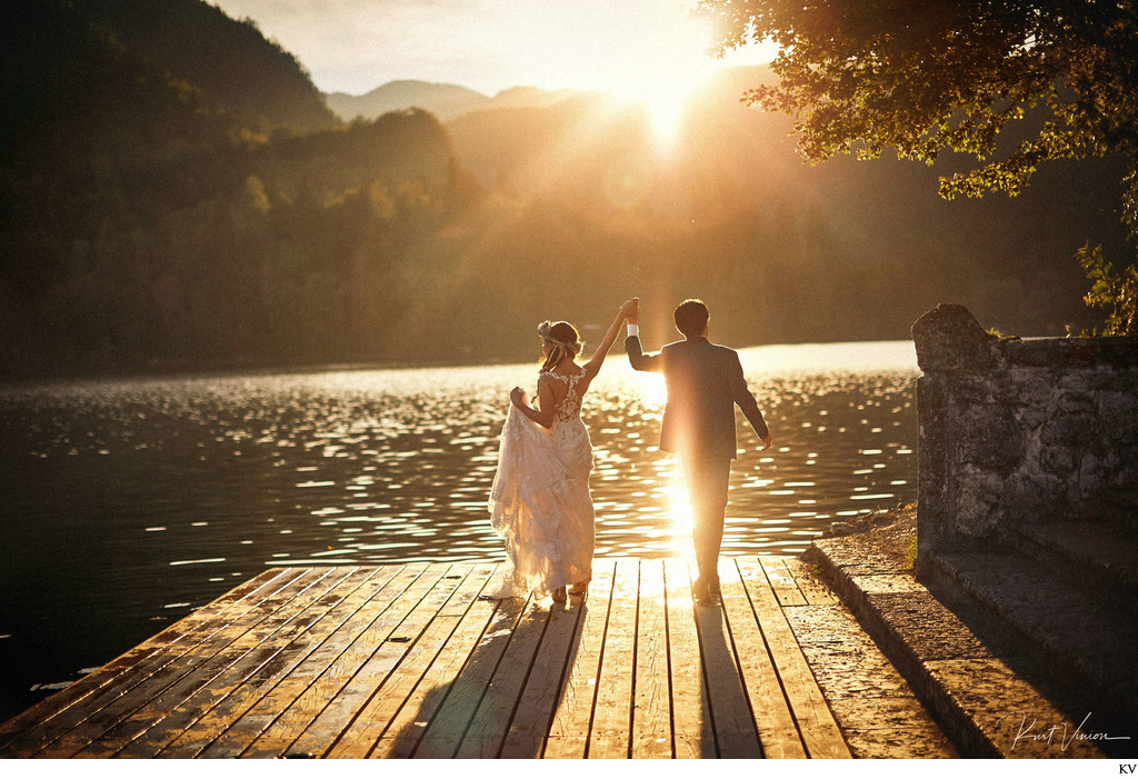 wedded couple celebrate Lake Bled Slovenia