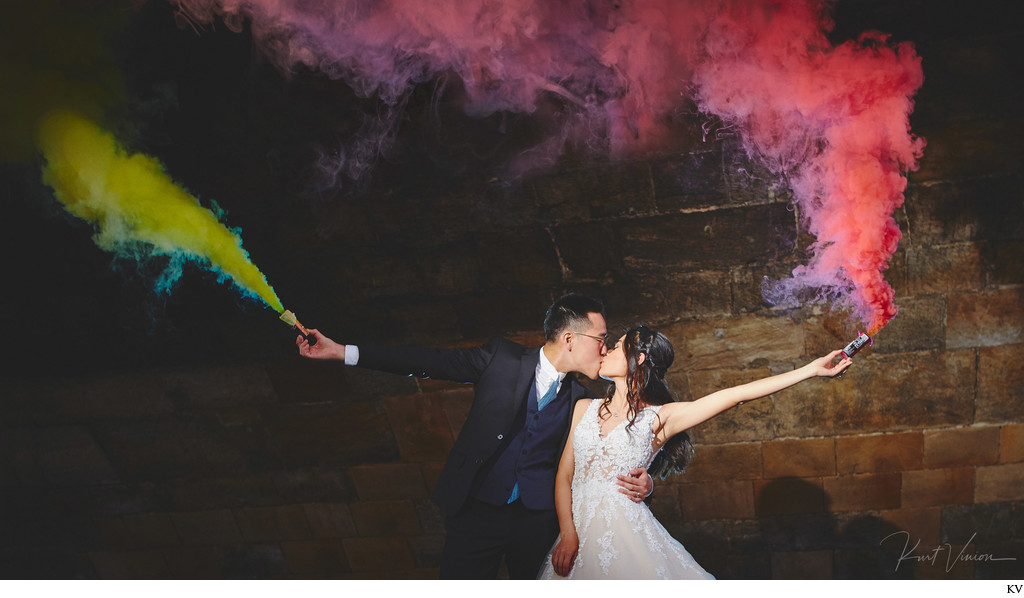 a kiss with smoke grenades in Prague