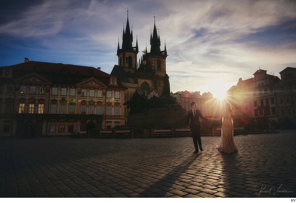 Walking through the Old Town in Prague at Sunrise