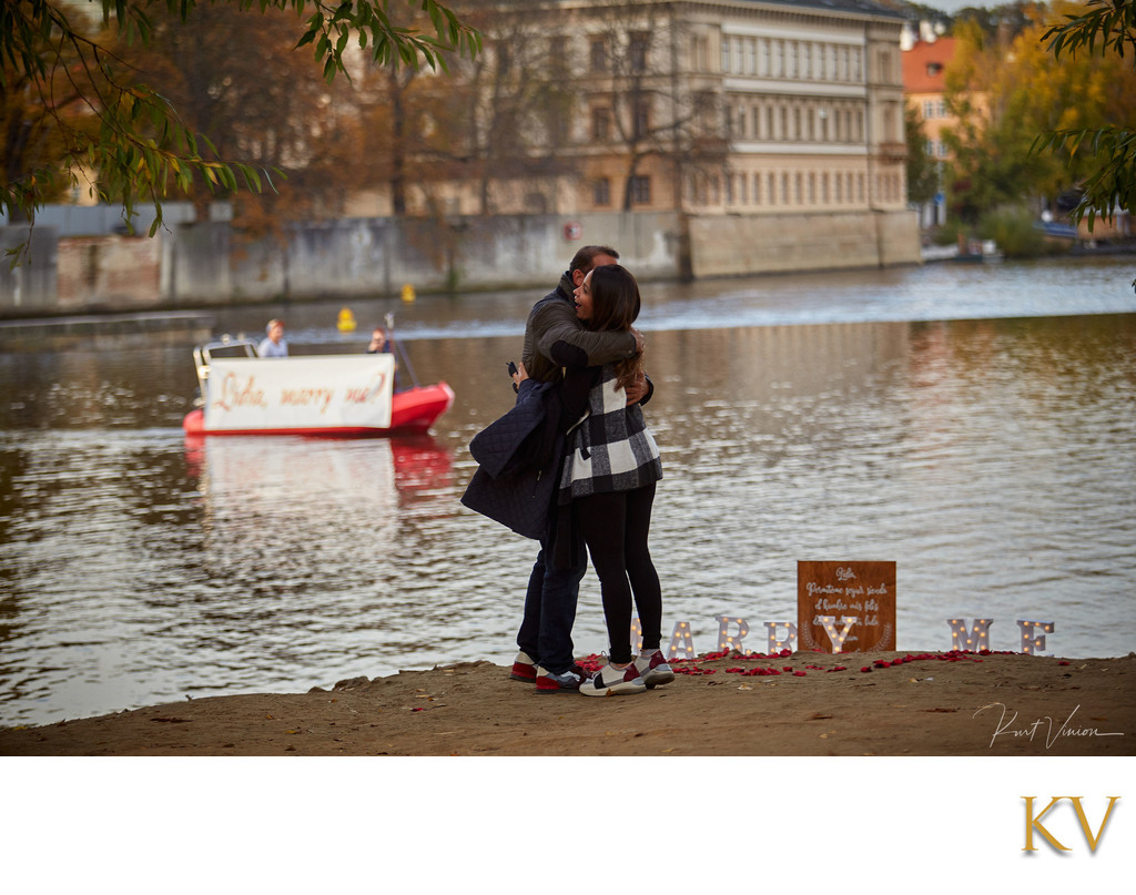 Riverside marriage proposal Prague Lidia & Hiram 1