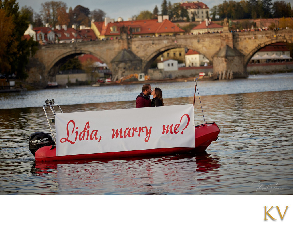 Riverside marriage proposal Prague Lidia & Hiram 4