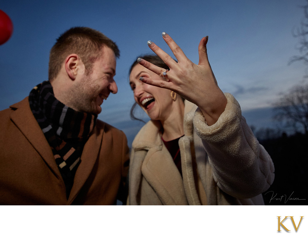 She said Yes - ring bling - Prague marriage proposal