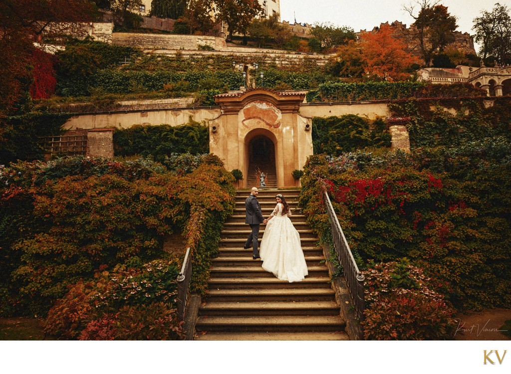 Lebanese bride & groom exploring the Ledebour Garden
